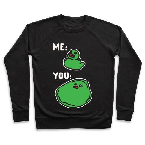 Me vs You Melting Ducky Meme White Print Pullover