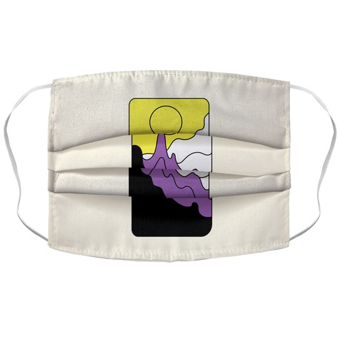Groovy Pride Flag Landscapes: Nonbinary Flag Accordion Face Mask