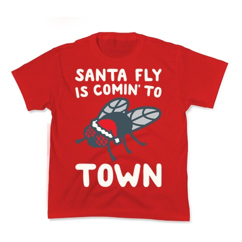 Santa Fly Is Coming To Town White Print Kids T-Shirt
