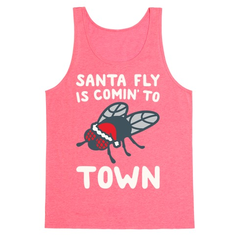 Santa Fly Is Coming To Town White Print Tank Top