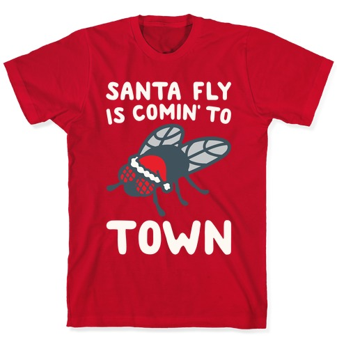 Santa Fly Is Coming To Town White Print T-Shirt