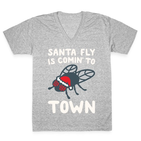 Santa Fly Is Coming To Town White Print V-Neck Tee Shirt