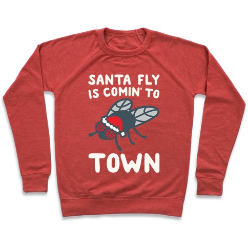 Santa Fly Is Coming To Town White Print Pullover