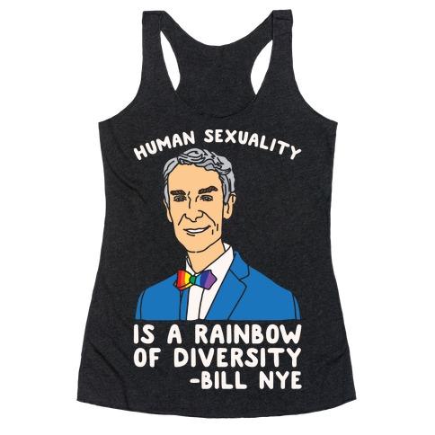 Bill Nye Pride Quote White Print Racerback Tank Top