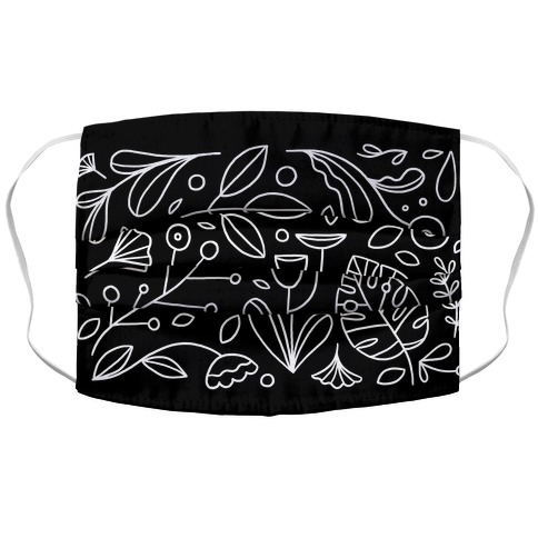 Black and White Plant Pattern Accordion Face Mask