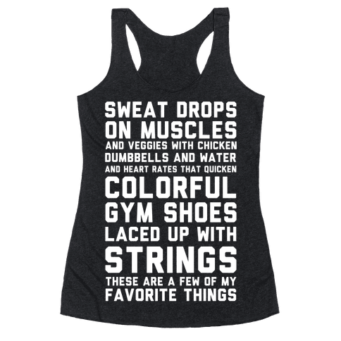 Sweat Drops On Muscles and Veggies With Chicken Racerback Tank Top