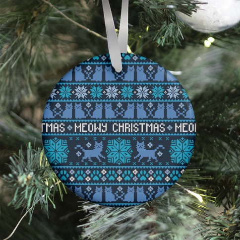 Meowy Christmas Cat Sweater Pattern Ornament