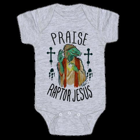 Praise Raptor Jesus Baby Onesy