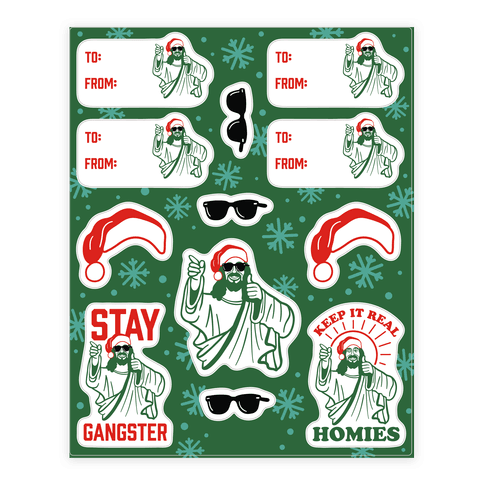 Gangster Christmas Jesus Gift Tag Sticker and Decal Sheet