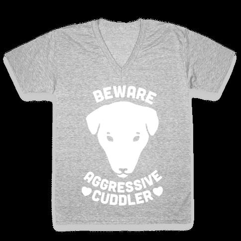 Beware: Aggressive Cuddler (Pit bull) (White Ink) V-Neck Tee Shirt