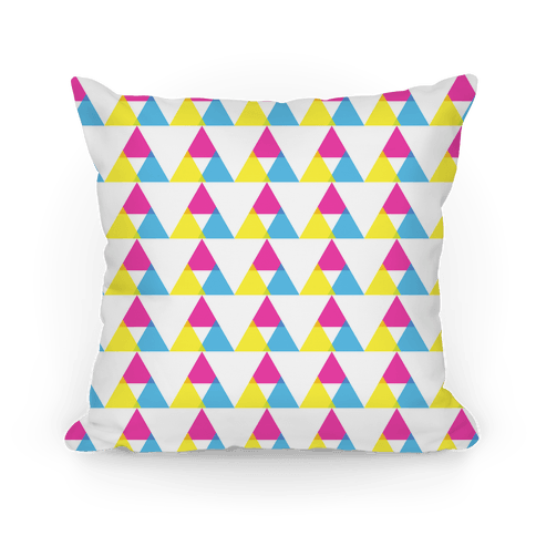 Cyan Magenta Yellow Triangle Pattern Pillow