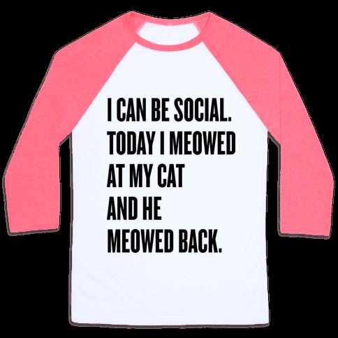 Cat Socialite Baseball Tee
