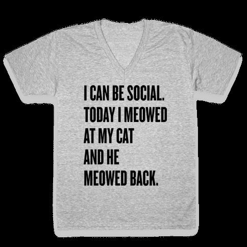 Cat Socialite V-Neck Tee Shirt