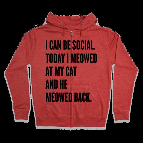 Cat Socialite Zip Hoodie