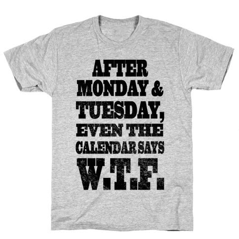 After Monday and Tuesday Even the Calendar says W.T.F. (Juniors) Mens T-Shirt