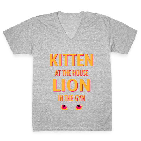 Kitten at Home Lion in the Gym V-Neck Tee Shirt