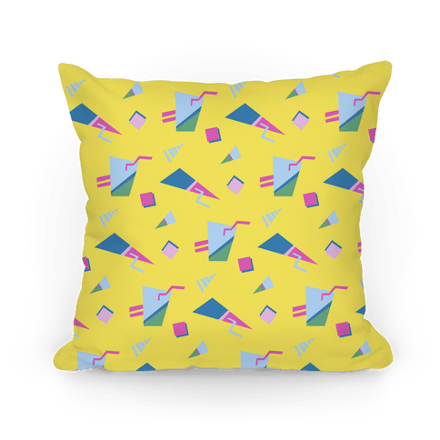 Yellow 80s/90s Pattern Pillow