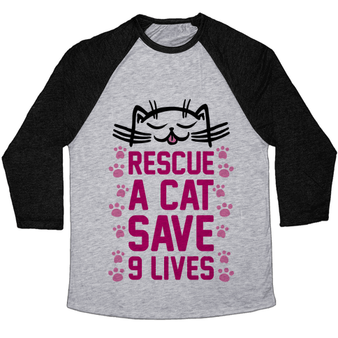 Rescue A Cat Save Nine Lives Baseball Tee