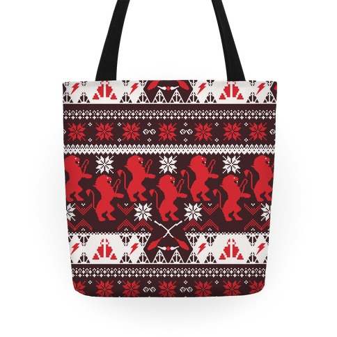 Hogwarts Ugly Christmas Sweater Pattern: Gryffindor Tote