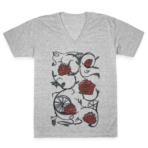 Sleeping Beauty Briar Rose Floral Pattern V-Neck Tee Shirt