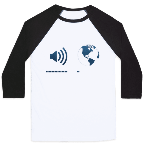 Music Up, World Down Baseball Tee