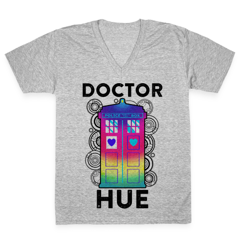 Doctor Hue (Doctor Who Parody) V-Neck Tee Shirt