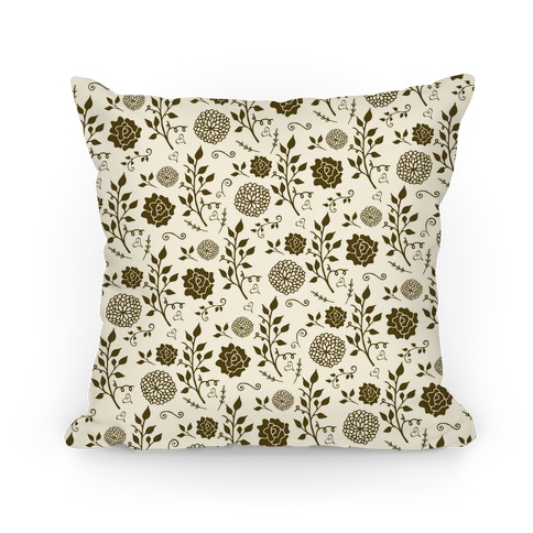 Brown Whimsical Floral Pattern Pillow