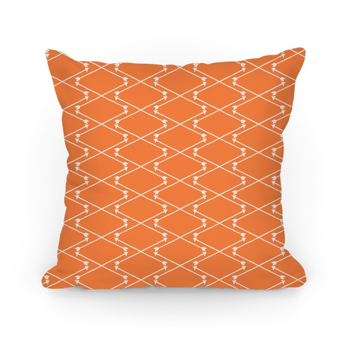 Citrus Orange Hipster Bow Arrow Crisscross Pattern Pillow