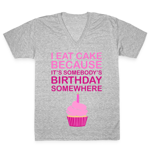 Birthday Cake V-Neck Tee Shirt