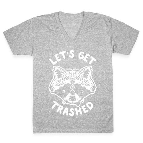 Let's Get Trashed Raccoon V-Neck Tee Shirt