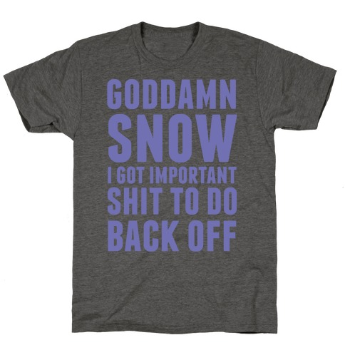 Goddamn Snow I Got Important Stuff To Do Back Off T-Shirt