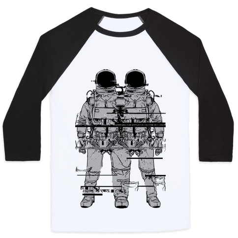 Twin Astronaut Glitch Baseball Tee