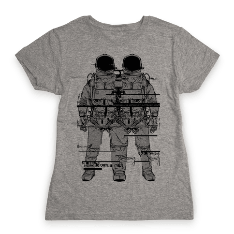 Twin Astronaut Glitch Womens T-Shirt