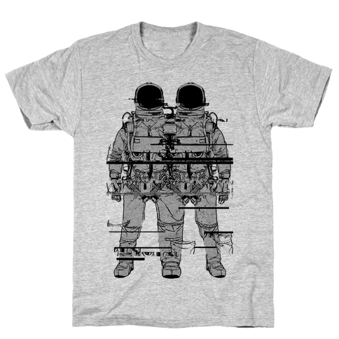 Twin Astronaut Glitch Mens T-Shirt