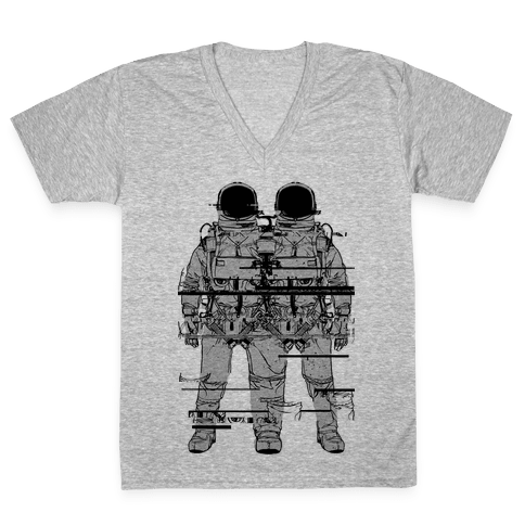 Twin Astronaut Glitch V-Neck Tee Shirt
