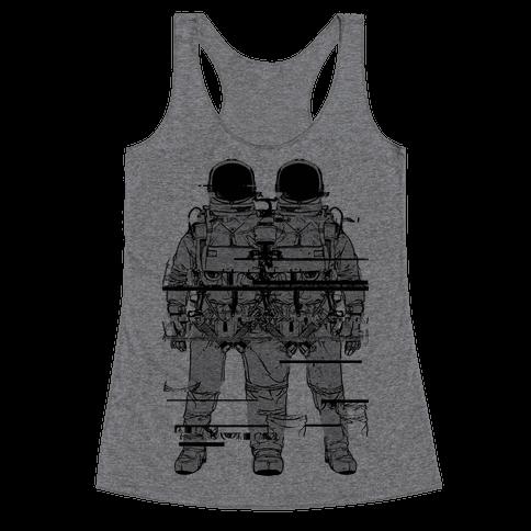 Twin Astronaut Glitch Racerback Tank Top