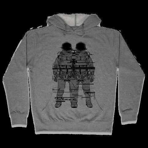 Twin Astronaut Glitch Hooded Sweatshirt