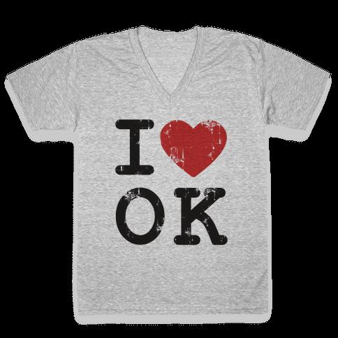 I Love Oklahoma V-Neck Tee Shirt