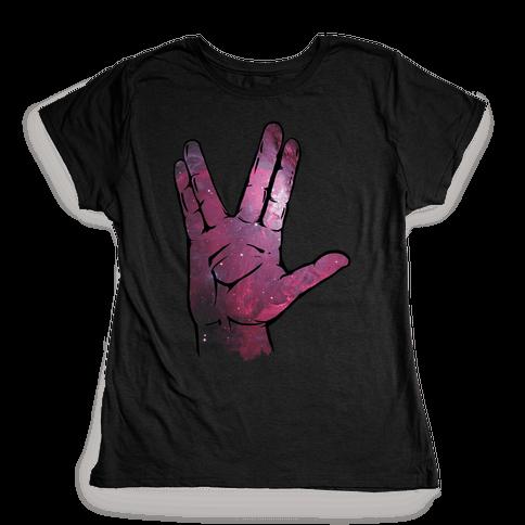 Live Long and Prosper Galaxy Womens T-Shirt