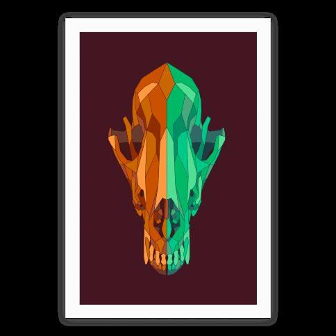 Geometric Coyote Skull Poster