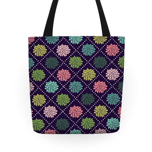 Diagonal Flower Pattern Tote