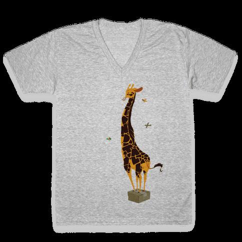 Stand Tall Giraffe V-Neck Tee Shirt