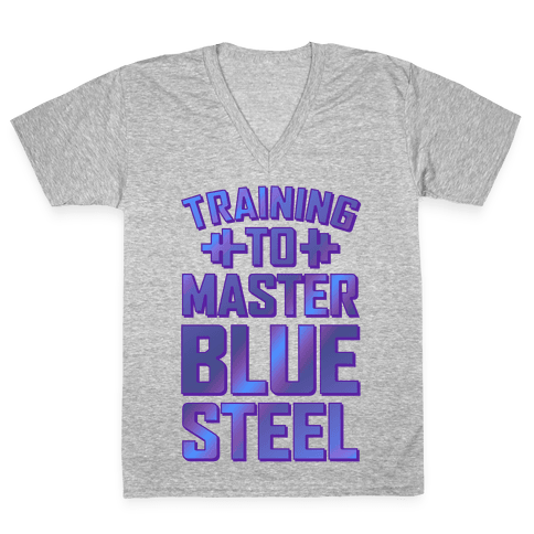 Training to Master Blue Steel V-Neck Tee Shirt