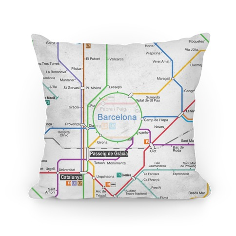Barcelona Transit Map Pillow