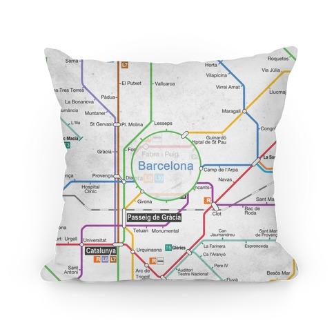 Barcelona Transit Map Pillow