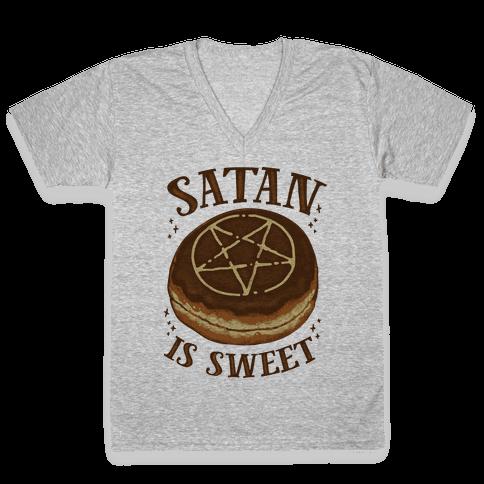 Satan is Sweet V-Neck Tee Shirt
