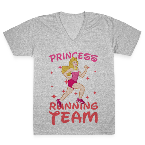Princess Running Team (Pink) V-Neck Tee Shirt