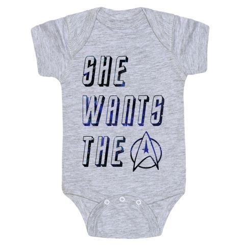 She Wants The Star Fleet Baby Onesy