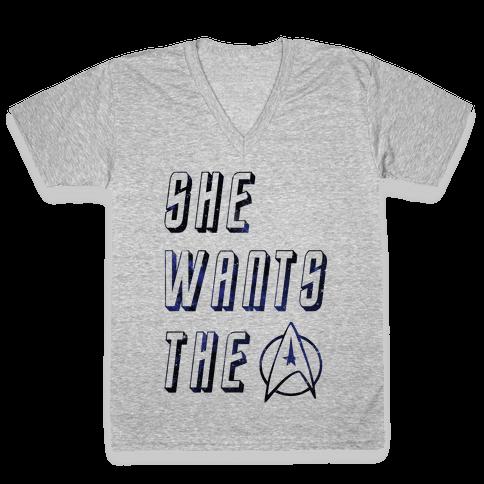 She Wants The Star Fleet V-Neck Tee Shirt