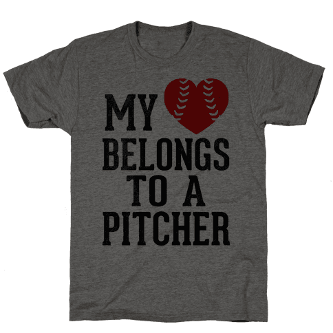 My Heart Belongs To A Pitcher (Baseball Tee) Mens T-Shirt